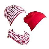 SALT AND PEPPER Set Voyage Hat-Scarf Stripes Gorro y Bufanda, Lollipop Red, 51 para Niñas