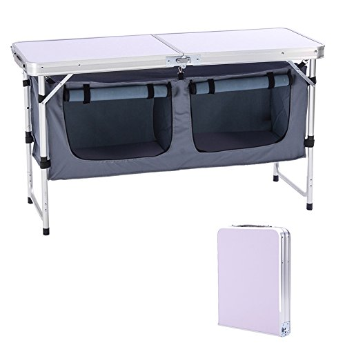 CampLand Outdoor Folding Table Aluminum Lightweight Height Adjustable with Storage Organizer for BBQ, Party, Camping (Grey)