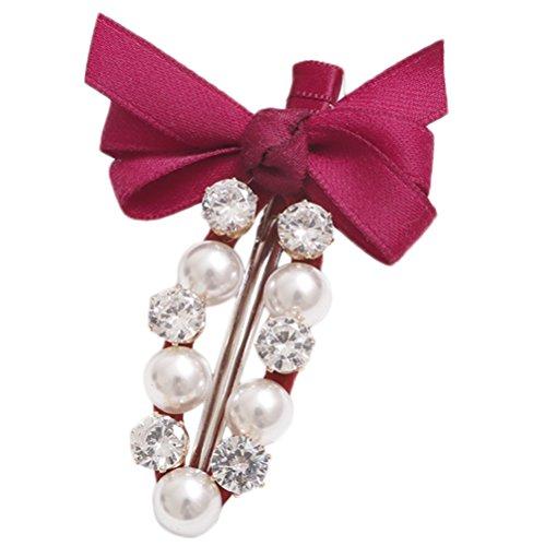Milopon Pinces à Cheveux Forme de Bowknot avec Strass Charme Coiffure Accessoires Pour Femme Fille Cadeau Anniversaire Rouge
