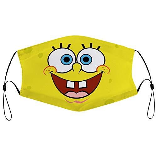 Spongebob Face Mask Adult Kids Men's Dust Reusable mask Unisex with Filter (Multiple Filter Packs)