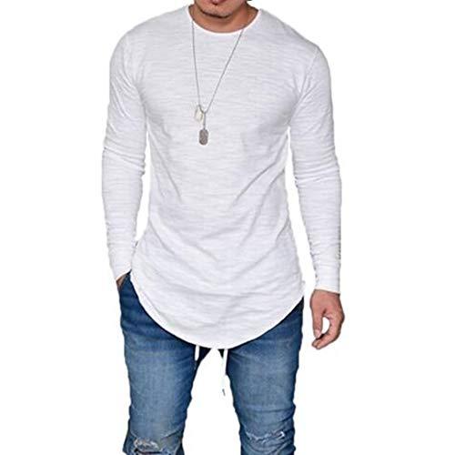 LIWEIKE Mens Solid Extended Hipster Hip Hop Swag Curve Hem Long Sleeve T Shirt (White, Medium)