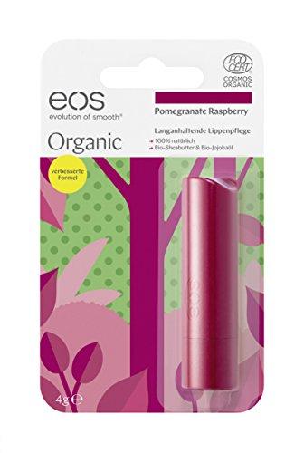 eos Organic Stick Lip Balm Pomegranate Raspberry, natürliche Lippenpflege, Beauty-Pflege für softe Lippen, fruchtiger Lip Stick, Naturkosmetik, 1 x 4 g
