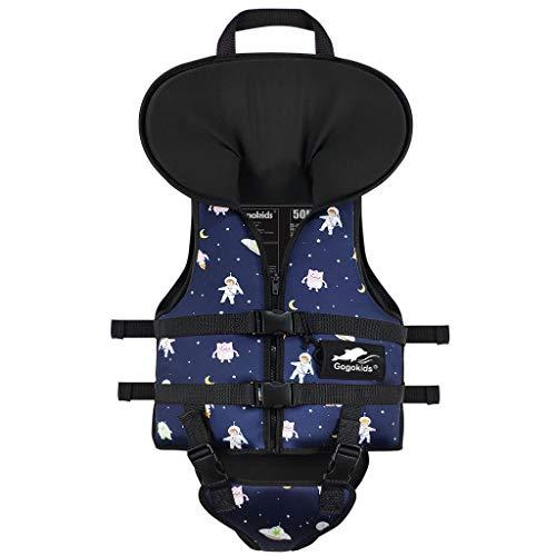 Gogokids Kids Swim Vest Children Float Jacket Toddler Neoprene Floating Swimsuit with Headrest and Triangle Crotch Strap Boys Girls Flotation Swimwear Navy M