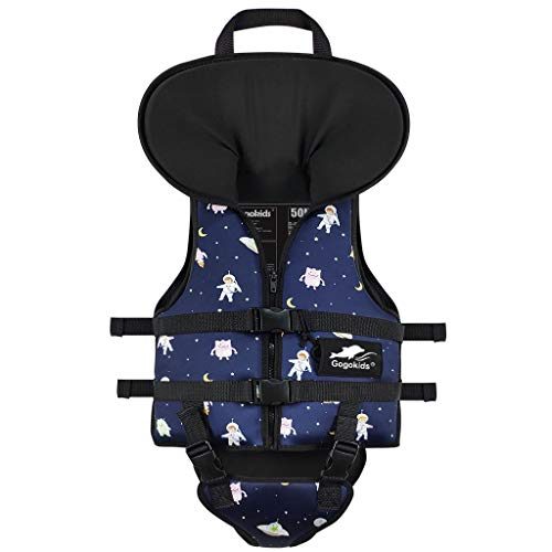Gogokids Kids Swim Vest Children Life Jacket, Toddler Boys Girls Float Swimsuit Swimming Aid Swimwear with Headrest and Triangle Crotch Strap, Navy S