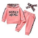 Geagodelia Babykleidung Set Baby Mädchen Kleidung Outfit Langarm Kapuzenpullover Top + Hose Neugeborene Kleinkinder Weiche Babyset Mama's Mini (Pink 725, 6-12 Monate)