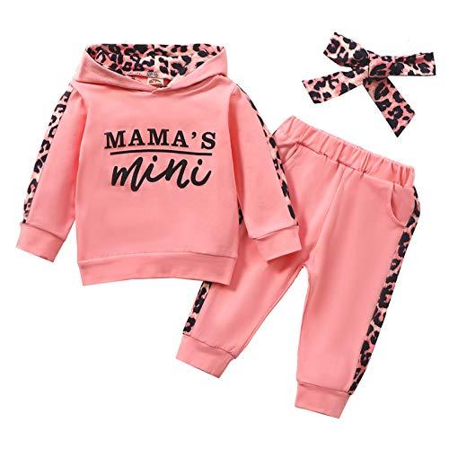 Geagodelia Babykleidung Set Baby Mädchen Kleidung Outfit Langarm Kapuzenpullover Top + Hose Neugeborene Kleinkinder Weiche Babyset Mamas Mini (Pink 725, 6-12 Monate)