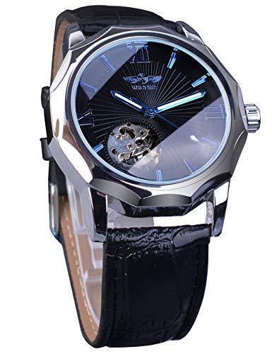 Winner Relojes mecánicos esqueleto azul océano Dial diseño poligonal