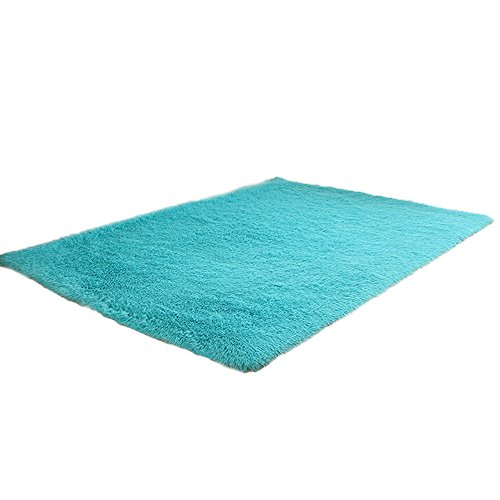 Flurries 👍 Rectangle Shape - Non-Slip Soft Plush Coral Fleece Plain Area Rugs - Shaggy Chair Cover Couch Sofa Seat Pad Mat Cushion Carpet Blanket - Home Decorator Bedroom Floor Bathroom (Sky Blue)