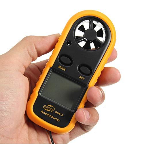 Godyluck Digitaler Windmesser Handheld Windgeschwindigkeitsmesser Messgerät Präzise Messung der Windtemperatur Geschwindigkeit Hintergrundbeleuchtung LCD Digitaler Wettermesser