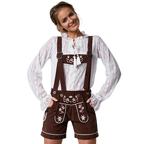 dressforfun 900801 Damen Lederhose mit Träger in klassischer Trachtenform, feine Blumenstickereien, braun - Diverse Größen - (XXL  Nr. 302809)