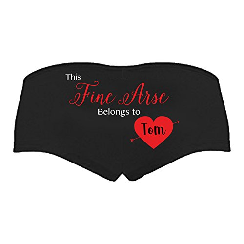 SMARTYPANTS This Fine Arse Belongs to - Personalised Women's Pants - Valentines Gift (Small Prime) Black