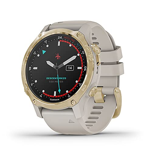 Garmin Descent Mk2S, Smaller-Sized Watch-Style Dive Computer, Multisport Training/Smart Features, Light Gold with Light Sand Silicone Band, (010-02403-00)