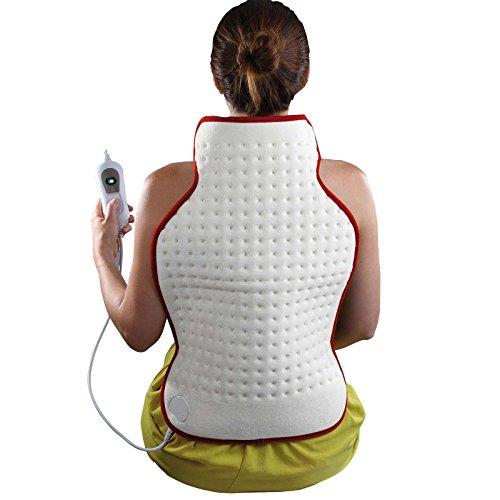 Manta térmica eléctrica para cuello y hombros (3 niveles, 62 x 41 cm, lavable, apagado automático, vellón suave)