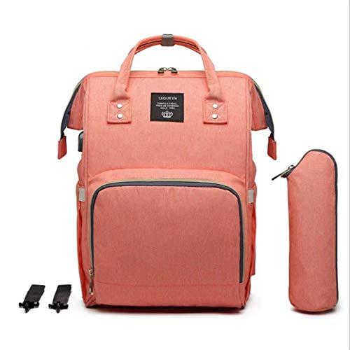 Baby Wickelrucksack, Babytasche für Reise, Wickeltasche Große Kapazität, Multifach Reise Rucksack Wasserdicht Fächer Babyflaschehälter (Orange)