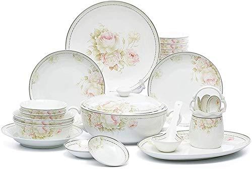 Dinner Plates Plates Set Plates 46 Pcs Ceramics Dinner Sets Dinnerware Set Elegant Flowers Pattern Combination Tableware Set-For Gift Giving Banquet Wedding Gifts Dinnerware ZHEYANG Dinner Sets Model: