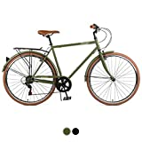 Retrospec Beaumont-7 Seven Speed Men's Urban City Bike, 54cm/Medium, Matte Olive Drab