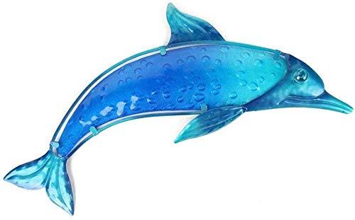 KUPR Ornement Figurine Poupée Bleu Dauphin Murale Décoration De Jardin Ornements Vitrail Mur Ornements De Jardin