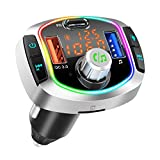 Car Bluetooth FM Transmitter,HIDOU Dual Display Radio Adapter Wireless In-Car Kit with Colorful