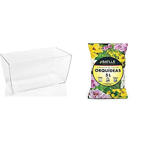 Teraplast Maceta 10447030, 30 x 15 x 14 cm, Transparente + Sustratos - Sustrato Orquídeas 5l. - Batlle