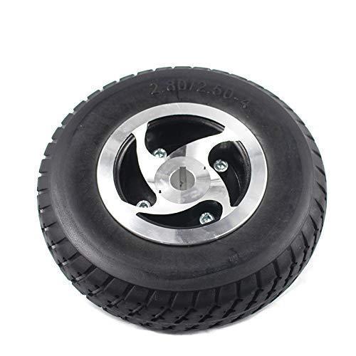 Neumáticos para scooter eléctrico, 9 '' Rueda sólida de neumático 2.80 / 2.50-4 Neumático no inflable + Cubo tipo chavetero para scooter de gas / eléctrico ATV Scooter de movilidad para personas may