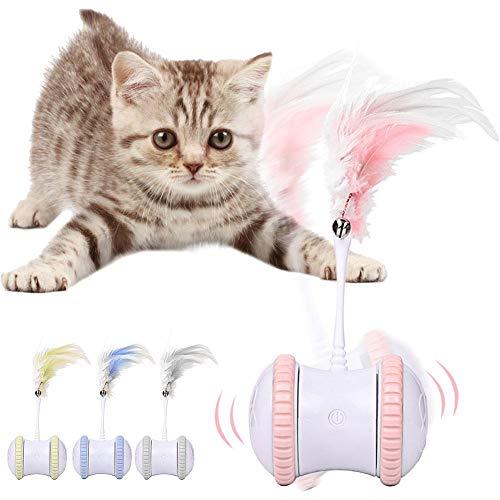 Juguetes interactivos, juguetes de cazador de gato, bola automática recargable por USB, divertida e inteligente para gato interior para cachorros, gatitos (rosa, verde, gris/azul)