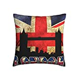 Kissenbezug mit britischer Flagge & Londoner Brücke, dekorativ, 45,7 x 45,7 cm, für Zuhause, Sofa, Schlafzimmer, Wohnzimmer