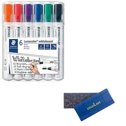 Pack/Set-6 Staedtler Lumocolor 351 + Borrador Magnètico Molin-Rotuladores Para Pizarra Blanca-Secado Rápido y Recargable, paquete de 6 unidades, Multicolor