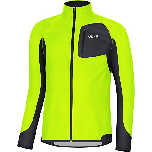 GORE Wear R3 Herren Trikot Partial GORE WINDSTOPPER, L, Neon-Gelb/Schwarz