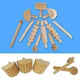 Buran 12 unids/set arcilla herramientas niños DIY plastilina modelado arcilla plastileno herramienta de madera auxiliar