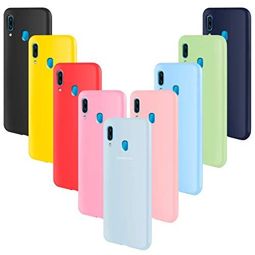 ivencase 9 × Funda Samsung Galaxy A40, Carcasa Fina TPU Flexible Cover para Samsung Galaxy A40 (Rosa Gris Rosa Claro Amarillo Rojo Azul Oscuro Translúcido Negro Azul Claro)