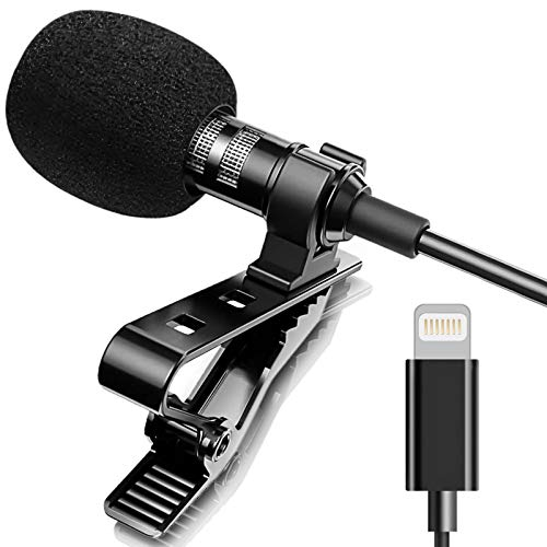 Professional Lavalier Lapel Microphone Omnidirectional Condenser Recording Mic for iPhone 7/7 plus/8/8 plus/11/11 Pro/11 Pro Max, iPhone X/XS/XR, YouTube Interview Video Recording(iOS 6.6ft)
