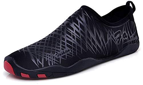 LeKuni Unisex Zapatos de Agua de natación Calzado de Secado Rápido Respirable Soles de Color Zapatos de Agua Piscina Playa(Negro,42)