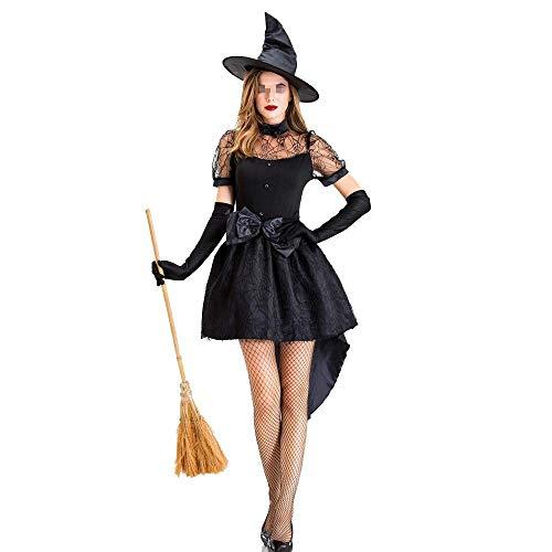 Halloween-Kleid Halloween-Kostüme Halloween-Kostüm Erwachsene schwarze Hexe Spiel Anzug Sexy Witch Witch Bühnenkostüm Schwalbenschwanz Rock bequeme weiche Maskerade-Partei-Kostüm-Party verkleiden Kost