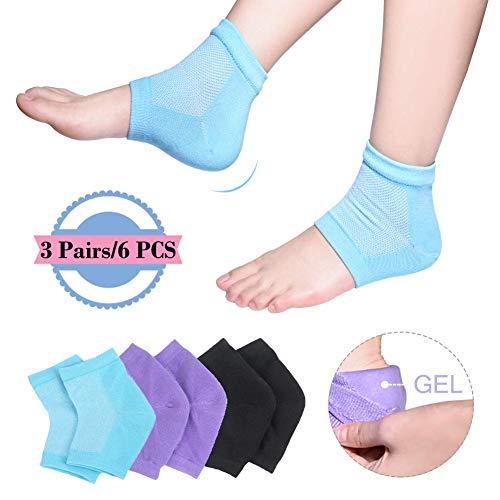 Moisturizing Socks, 3 PairsMoisturizing/Gel Heel Socks for Dry Cracked Heels, Open Toe Socks, Ventilate Gel Spa Socks to Heal and Treat Dry, Gel Lining Infused with Vitamins (Blue, Purple, B