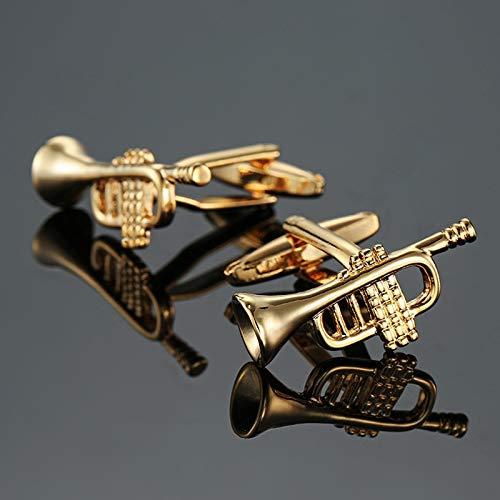 SMXGF Brand new gouden trompet manchetknopen modieuze mannen shirt manchet exclusief ontwerp knoop door senior muziek Designer