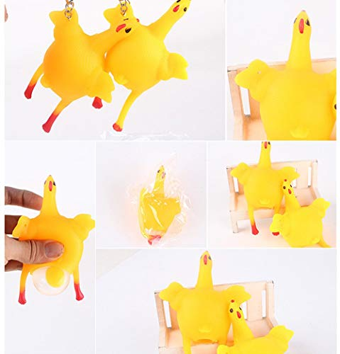 Generic funny tricky chicken parody toy ventilation hens eggs stress keyring ball gadgets stress relief toys dog toys yellow m