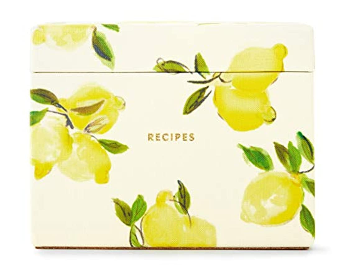 Kate Spade New York Recipe Box with 40 Double Sided Recipe Cards, Lemon