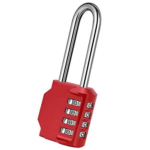 BeskooHome - Candado de combinación de aleación de zinc de 2,5 pulgadas de largo grillete de 4 dígitos para puerta de valla de cobertizo, color rojo