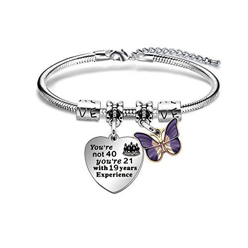 ACAROMAY - Pulsera de 40 cumpleaños, diseño de mariposa, para mujer, regalo de cumpleaños para mamá, hermana, amiga, tía