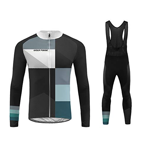Uglyfrog MTB Termico Invernale Completo Abbigliamento Ciclismo Manica Lunga, Maglia da Ciclismo Bib Pantaloni Imbottiti in Gel