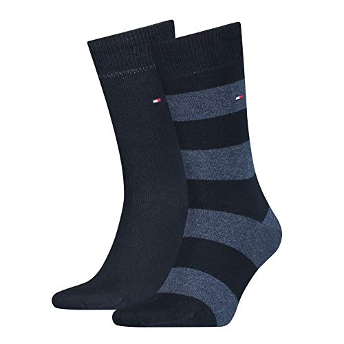 Tommy Hilfiger Rugby - Chaussettes - Lot de 2 - Homme - Bleu (Midnight Blue) - FR: 43-46 (Taille fabricant: 43/46)