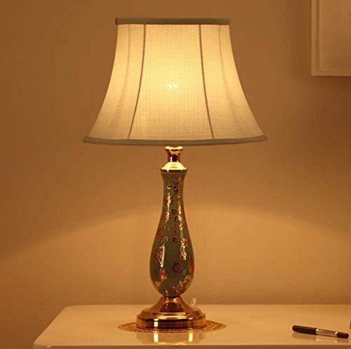 E27 Amerikanischen land stil Tischlampe Vintage Einfache Art Keramik Schlafzimmer Nachttischlampen Stoffschirm Moderne Metall Studie Wohnzimmer Hotel Villa Dekorative Schreibtischlampe Ma.