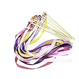 Amosfun 12 campanas de mano con cinta de arco iris, palillos de cometa Waldorf de baile de serpentinas sensoriales de juguete de mano cascabeles Montessori juguetes sensoriales para niños pequeños
