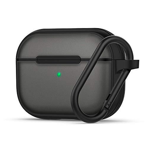 CYRILL Color Brick Funda Compatible con AirPods Pro, LED Visible & Soft TPU con PC Semitransparente con Mosquetón - Negro