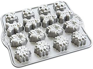 Nordic Ware 93748 Holiday Teacakes Cast Cakelet Pan, 3 Cup Capacity, Silver