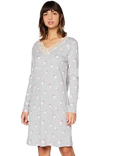 Amazon-Marke: Iris & Lilly Damen Nachthemd aus Baumwolle, Grau (Grey Snowman), XXL, Label: XXL