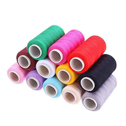 Bob Temple322000 Textiles Materias Primas 12 Colores 400M Carretes del Hilo de Coser de algodón Máquina de Bobina Cadena de Cable Herramientas