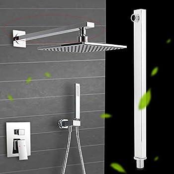 Braccio doccia da 13.8 pollici con flangia, prolunga a parete fissa per soffione a pioggia soffione doccia Componenti per la doccia universali