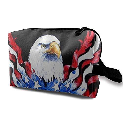 XCNGG Make-up-Taschen Fashion Artist Aufbewahrungstasche Geräumige kleine Make-up-Tasche mit Reißverschluss und kahlem patriotischem Schwarz