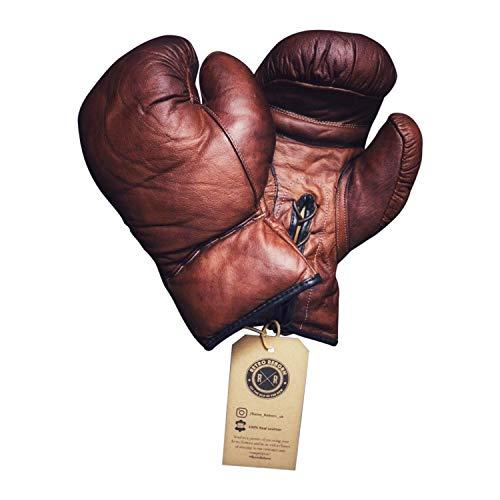 Retro Reborn Guantes de boxeo de piel marrón estilo vintage para adultos,...